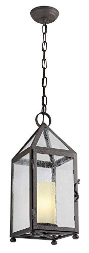 Troy Lighting Hidden Hill 1-Light Outdoor Pendant - Centennial Rust Finish with Provence Glass Candle and Clear Seedy Glass Shade