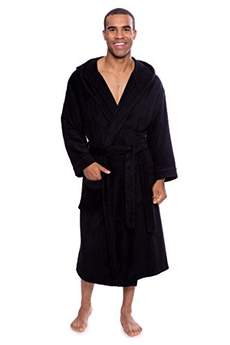 Bamboo Hooded Robe (TexereSilk Men's Bathrobe - Terry Cloth Robe For Men - Luxury Hooded Spa Robe For him (Black, Small/Medium) Great Christmas Holiday Gifts For him)