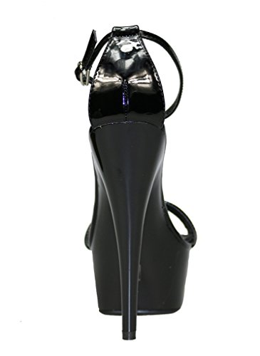 Women's Ankle Strap Open Toe Platform High Heel Sandals Black Patent PU oDjO1tjk