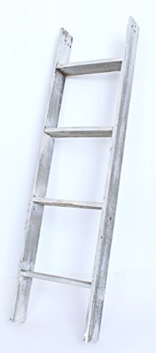 BarnwoodUSA Rustic 4 Foot Bookcase Ladder - 100% Reclaimed Wood, White