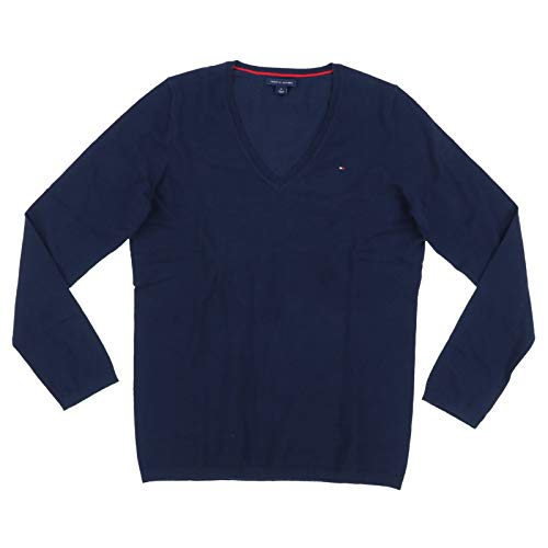 Tommy Hilfiger Women's New Ivy V-NK SWTR Jumper, Blue (Core Navy), Size 10 (Size:Small)