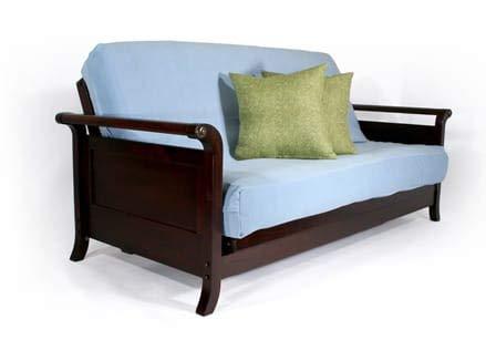 Strata Furniture Lexington Dark Cherry Queen Wall Hugger Futon Frame