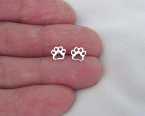 Sterling Silver 6.5mm Dog Cat paw Dainty Outline Post Stud Earrings. - Jewelry Accessories Key Chain Bracelet Necklace Pendants ()
