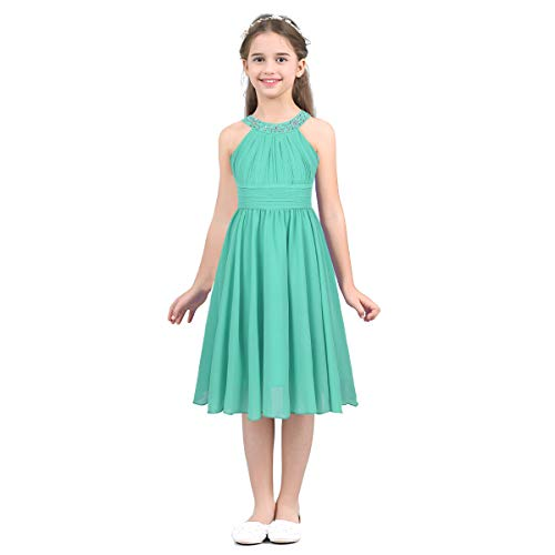 YiZYiF Kids Big Girl Sleeveless Pleated Chiffon Flower Wedding Bridesmaid Formal Party Dress (8, Sequined Mint Green)