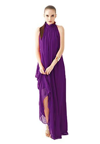 Chowsir Long Ruffle Neck Sleeveless Chiffon Maxi Dresses (One Size, Purple)