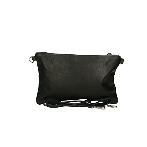 Petit Italie Noir main en fabriqué à Sac Cm cuir Borse Clutch véritable Femme Chicca 29x18x2 en qfnZWF41t7