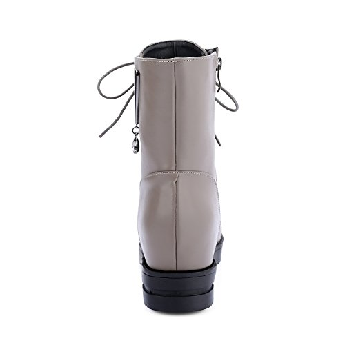 A amp;N Womens Inside Toe Leather Boots Platform Gray Imitated Heighten Up Lace Round 66rx4wdqn