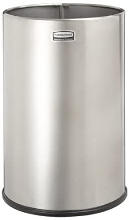 Rubbermaid Commercial Stainless Steel 5-Gallon European and Metallic Series Trash Can, Round, Satin