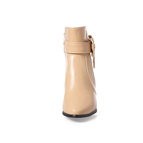 Leather Boots Toe nbsp; SXC02589 nbsp;Lining Velvet Heels Pointed apricot Chunky AdeeSu Womens w1qZCC