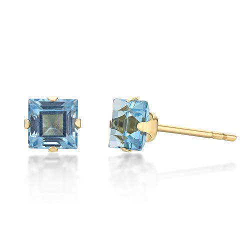 Lavari - .80 cttw Square 4MM Natural Blue Topaz 10K Yellow Gold Stud Earrings ()