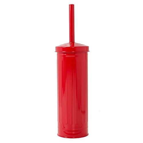 Elaine Karen Deluxe Retro Galvanized Steel Toilet Brush - RED