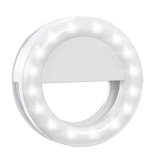 Criacr Selfie Ring Light, Clip-on LED Camera Light, Rechargeable 33 LED Fill-light, 3-Level Adjustable Brightness On-Camera Video Lights Night Light for iPhone, Samsung, Other Smartphone, Tablets, etc
