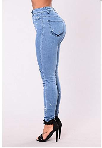 El DAMENGXIANG Agujeros Lavado Imagen Elásticos La La Bordes de Mujeres De Color Las De Jeans Moda Ajustados 77UrAq1