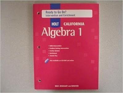 Amazon com: Holt Algebra 1 California: Ready to Go On