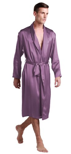 LILYSILK Silk Robes For Men Natural 22 Momme Medium Style V Neck 100% Pure Silk Bathrobe Violet L by LilySilk