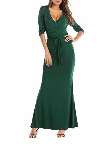 Silk Floral Maxi Dress (SUNNOW Womens Sexy Ladies Deep V Neck Party Dress Maxi Long Evening Dress (XL, Dark Green))