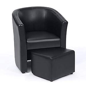 IDMarket – Fauteuil Cabriolet et Repose Pieds PU Noir