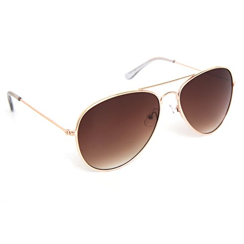 (JOOX Classic Metal Aviator Sunglasses UV 400 Protection Lens (Shiny gold/Brown gradient,)