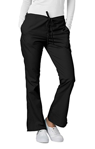 (Adar Universal Flare Leg Natural-Rise Drawstring Scrub Pants - 507 - Black - M)