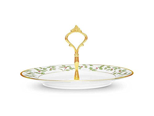 Noritake Holly and Berry Gold Handled Hostess Tray