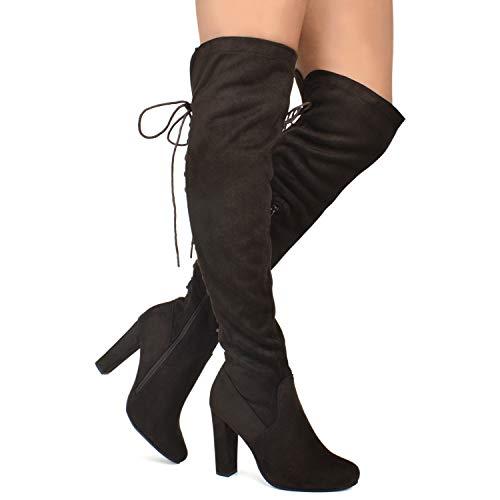 Premier Standard - Women's Thigh High Stretch Boot - Trendy High Heel Shoe - Sexy Over The Knee Pullon Boot - Comfortable Easy Heel, TPS Booties-22Aloz Brown Size 7