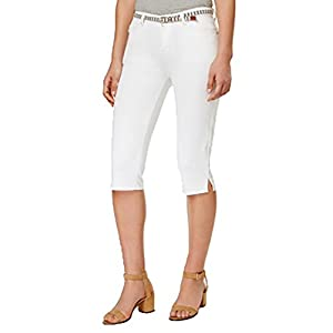 LEE Platinum Striped-Belt Storm Wash Capri