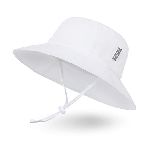 (Ami&Li tots Adjustable Sunscreen Bucket Sun Protection Summer Hat for Baby Girl Boy Infant Kid Toddler Child UPF 50+ White)