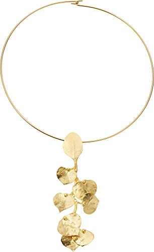 Kenneth Jay Lane Women's Satin Gold Flower Front Wire Necklace Gold One Size