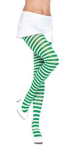 Adult Nylon Striped Tights - White/Kelly Green