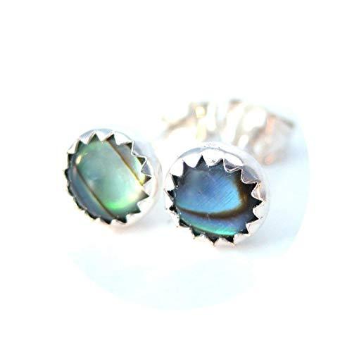 Abalone Stud Earrings, Blue Green Paua Shell Post Style