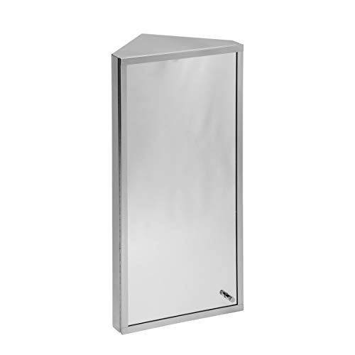 Renovators Supply Manufacturing Corner Medicine Cabinet Polished Stainless Steel Mirror Door Three - Mirrors Corner Shelf Bathroom With