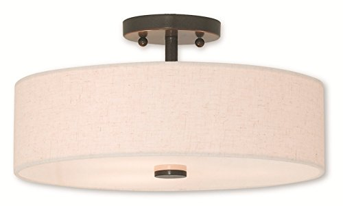 Semi Flush Mounts 3 Light with Steel Drum English Bronze Size 15 in 180 Watts - World of Crystal