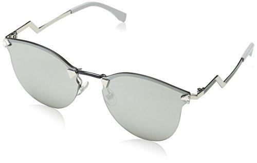 Fendi Women's Rimless Bottom Sunglasses, Palladium/Silver Mirror, One - Fendi Mirror