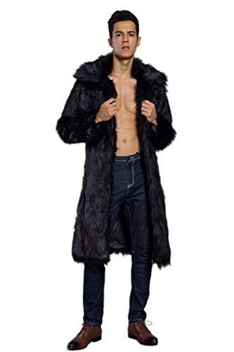 Old DIrd Men's Long Sleeve Fluffy Faux Fur Warm Coat Outerwear N02 Black S ()
