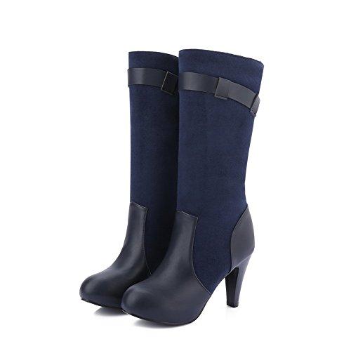 VogueZone009 Damen Blend-Materialien Mitte-Spitze Rein Ziehen auf Hoher Absatz Stiefel Blau