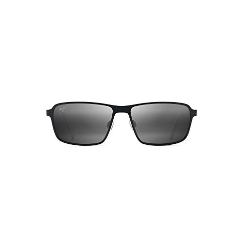 Maui Jim Glass Beach 748-2M | Polarized Matte Black Rectangular Frame Sunglasses, with with Patented PolarizedPlus2 Lens ()