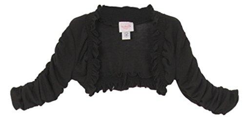 Flower Girl Sweater Elastic Rtuffled Long Sleeve for Big Girl Black 8