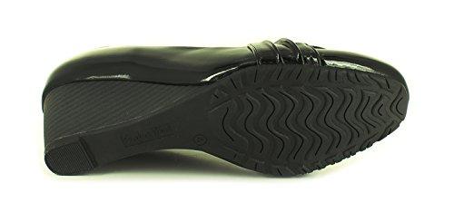 Neu Damen/Damen Schwarz Lack Comfort Plus Schuhe Mit Knopf Detail - Schwarz - UK GRÖßEN 3-8