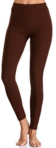 BAILYDEL Women's Ultra Soft Ankle Leggings Solid Seamless Stretch Pants for Women Color Brown Size XL-2XL