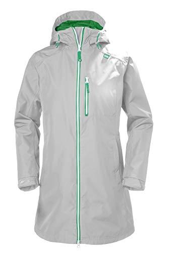 Helly Hansen Women's Long Belfast Waterproof Rain Jacket with Hood, Grey Fog, Large