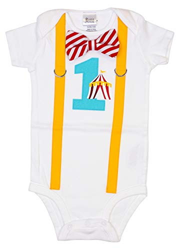 Cuddle Sleep Dream Baby Boy 1st Birthday Outfit with Bow Tie and Suspenders (18 Month, Circus) -
