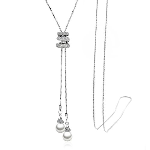 Zealmer Shoopic Crystal Pearl Tassel Pendant Necklace Long Sweater Necklace for Women Girls (Pearl Necklace Chain Long)