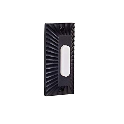 Craftmade PB4043-WB Die-Cast Builder's Plus Doorbell Surface Mount Lighted LED Push Button, Weathered Black (3.5