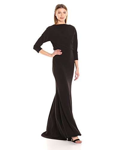 Badgley Mischka Women's Longsleeve Blouson Gown, Black, 6 (Badgley Mischka Long Sleeve Jersey Beaded Gown)