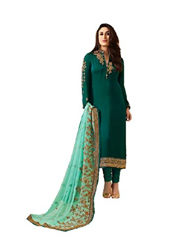 Delisa Indian/Pakistani Fashion Dresses for Women K3 (Dark Turquoise, X-LARGE-44)