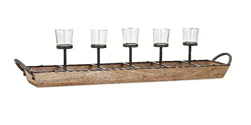 Wood Natural Candle Holder - Imax 71813 Shay Five-Light Candle Holder, Natural
