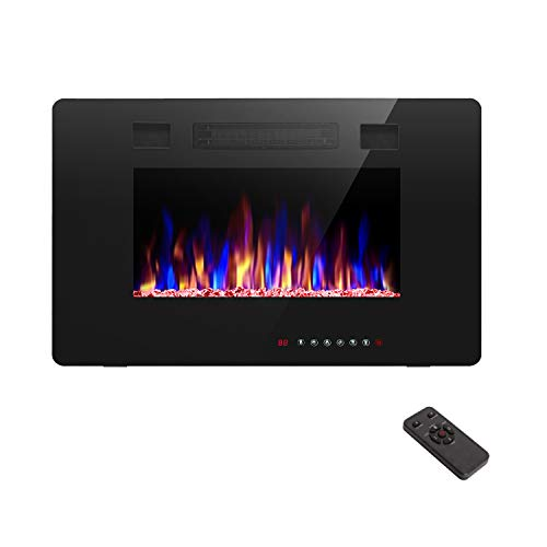 R.W.FLAME 30 inch Recessed and Wall Mounted Electric Fireplace, Low Noise,Fit for 2 x 4 and 2 x 6 Stud, Remote Control with Timer,Touch Screen,Adjustable Flame Color and Speed, 750-1500W
