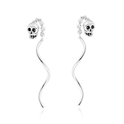 Tiny Skull Chain Thread Spiral Stick Slide .925 Sterling Silver Dangle Earrings