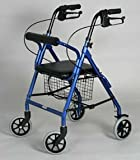 Rollator - Dark Blue with Soft Seat # Lightweight aluminum frame # Handles are adjustable for different heights # Removable basket fits under the seat # Locking hand brakes # 6'' front and rear tires # Push button removable backrest # Limited lifetime warr