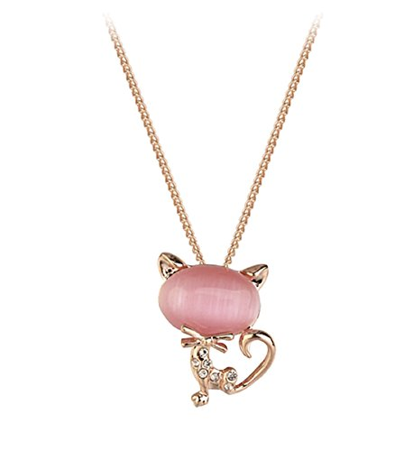 Gift for Girls Rose Gold Plated Animal Cat Pendant with Cubic Zirconia and Pink Oval Shaped Stone Necklace Fashion Jewerly